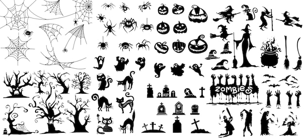 Grande collection de la collection happy halloween magic Vecteur Premium