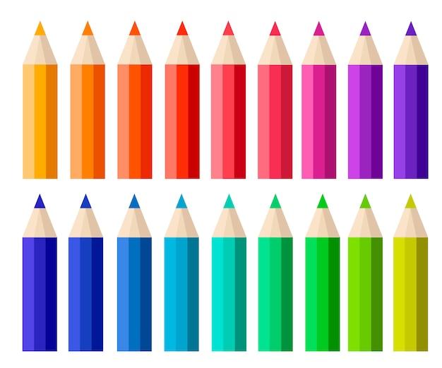 Grande Collection De Crayons De Couleur. Style De Bande Dessinée. Illustration Sur Fond Blanc Vecteur Premium