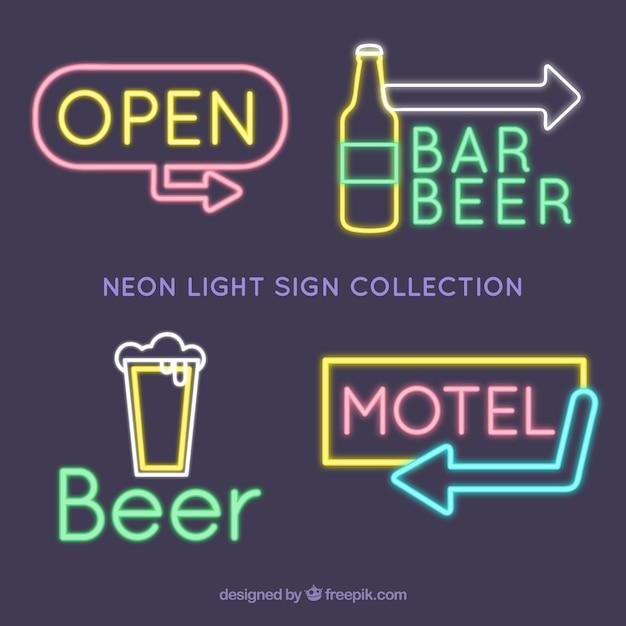 Grande collection de signes de lumière au néon pour les établissements Vecteur gratuit