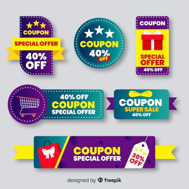 Grande collection d'étiquettes de vente de coupons Vecteur gratuit