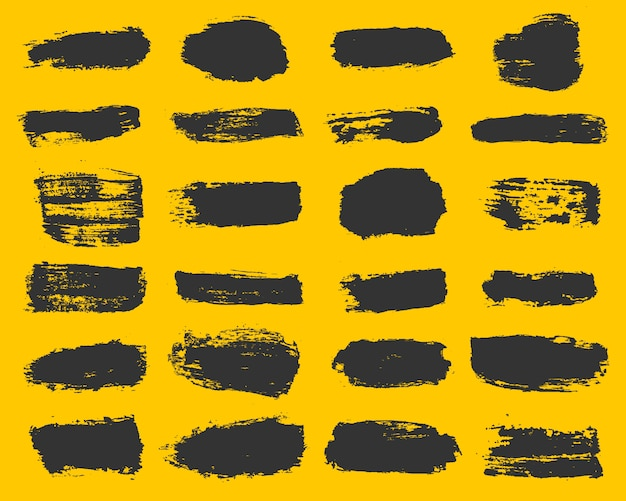 Grande Collection De Peinture Noire, Coups De Pinceau D'encre, Pinceaux, Lignes, Grungy. Vecteur Premium