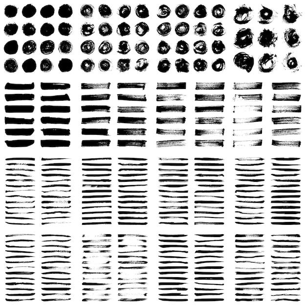 Grande collection de peinture noire, de coups de pinceau, de pinceaux, de lignes, grungy. Vecteur Premium