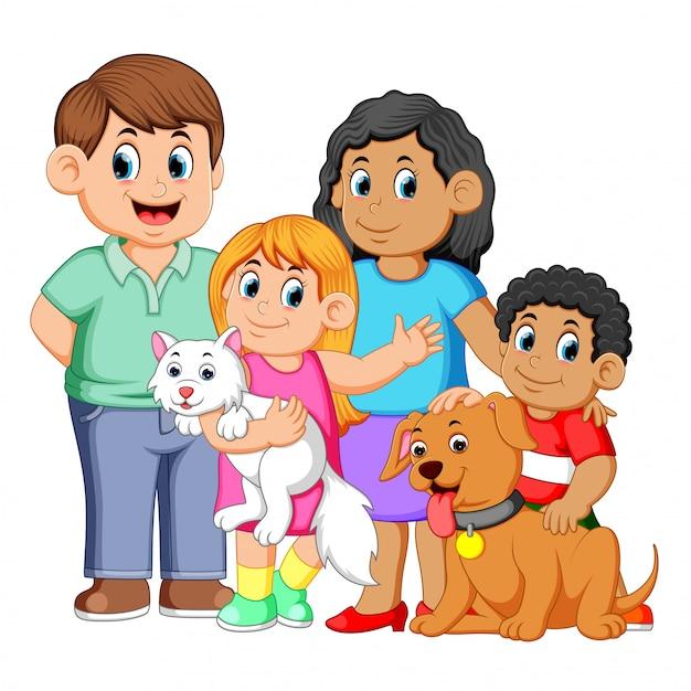 Grande famille avec des animaux domestiques Vecteur Premium