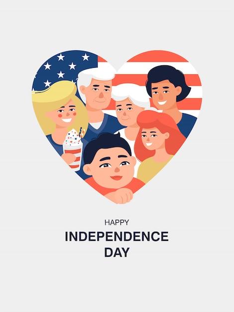 Grande Famille En Arrière-plan Avec Le Drapeau Américain Pour Le Quatrième Jour De L'indépendance De Juillet Vecteur Premium