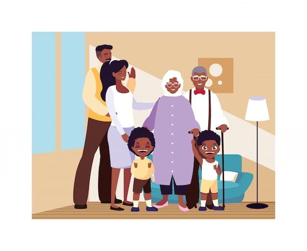 Grande Famille Ensemble Dans Le Salon, Trois Générations Vecteur Premium