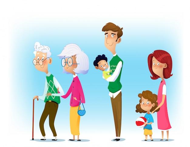 Grande Famille Ensemble. Vecteur Premium