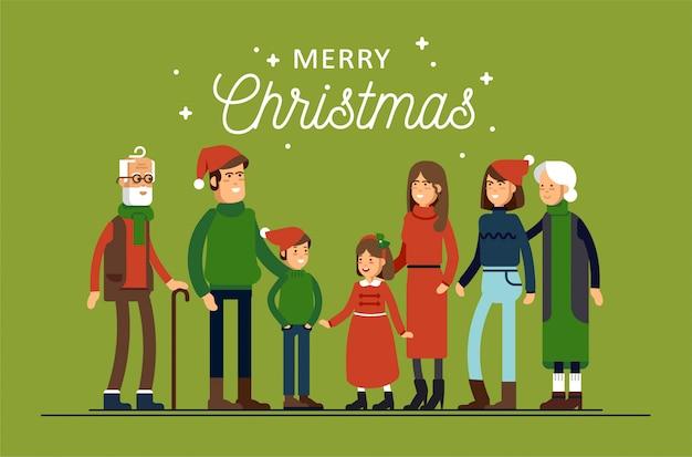 La Grande Famille Heureuse Dans Les Chapeaux De Noël A Des étreintes. Parents Avec Enfants Debout Ensemble Se Tenant. Vecteur Premium