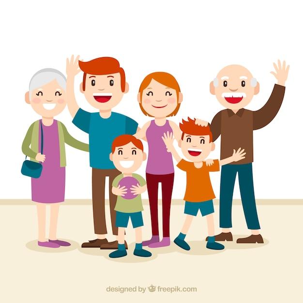 Grande famille heureuse avec un design plat Vecteur gratuit