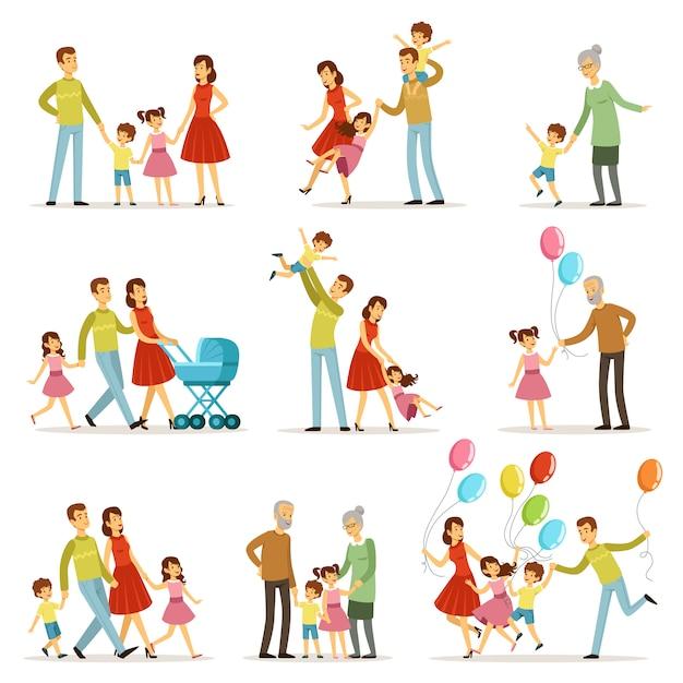 Grande famille heureuse avec la mère, le père, la grand-mère et le grand-père. Vecteur Premium
