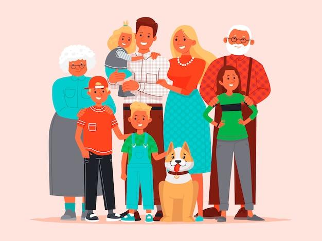 Grande famille heureuse. père, mère, enfants, grand-mère et grand-père, chien de compagnie ensemble Vecteur Premium