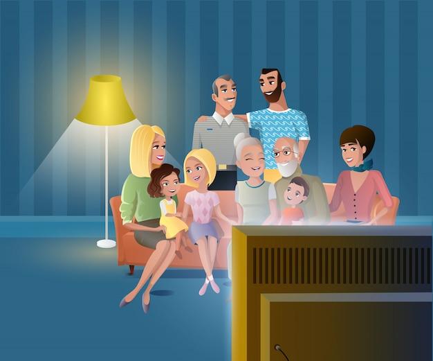 Grande famille heureuse se réunissant à la maison vecteur Vecteur Premium