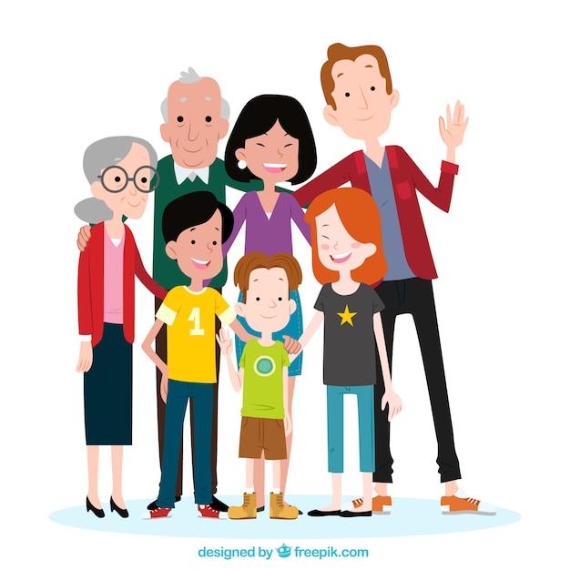 Grande Famille Heureuse Avec Style Dessiné à La Main Vecteur gratuit