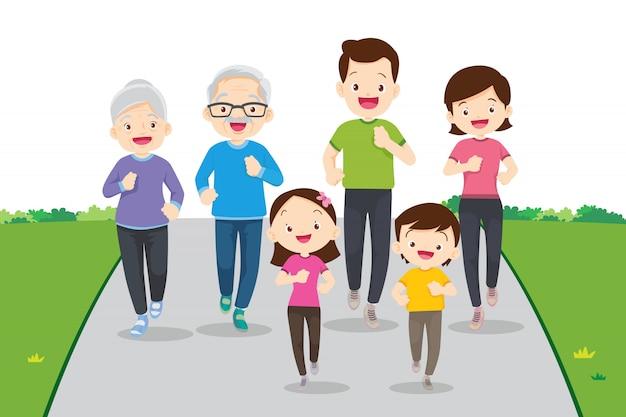 Grande Famille Jogging Et Exercice Ensemble Vecteur Premium