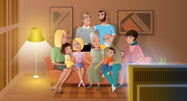 Grande famille, passer, soir, temps, vecteur, ensemble Vecteur Premium