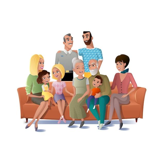 Grande famille réunissant le concept de vecteur Vecteur Premium