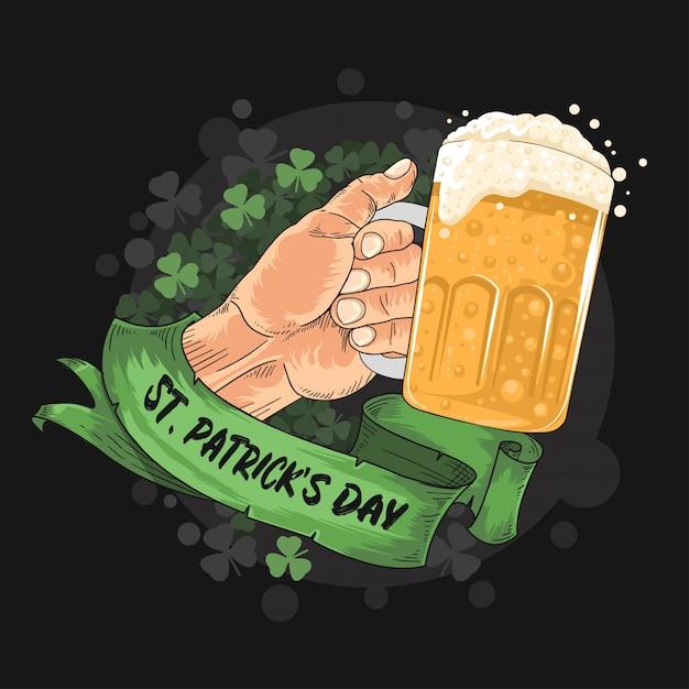 Grande fête de la bière à la st. patrick Vecteur Premium