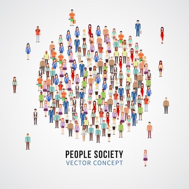 Grande Foule De Personnes En Forme De Cercle. Société, Concept De Vecteur Communautaire Personnes Vecteur Premium