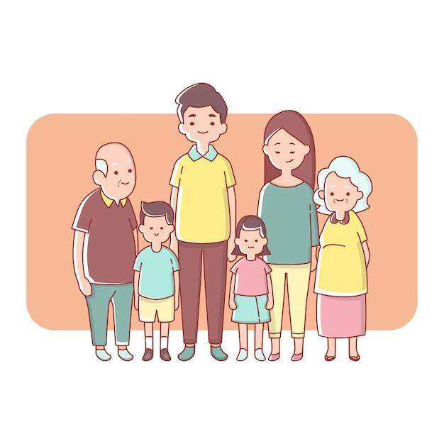 Grande génération de famille heureuse ensemble Vecteur Premium