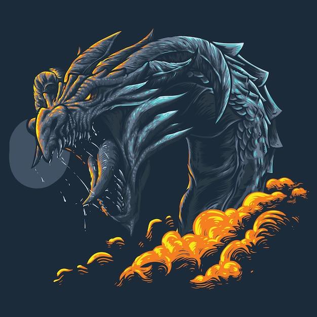 Grande Illustration Dragon Vecteur Premium