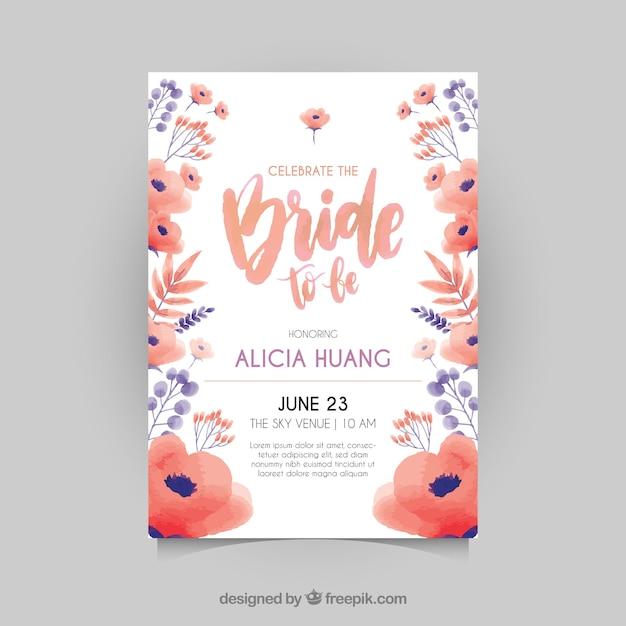 Grande invitation de bachelorette avec des fleurs rouges et bleues Vecteur gratuit