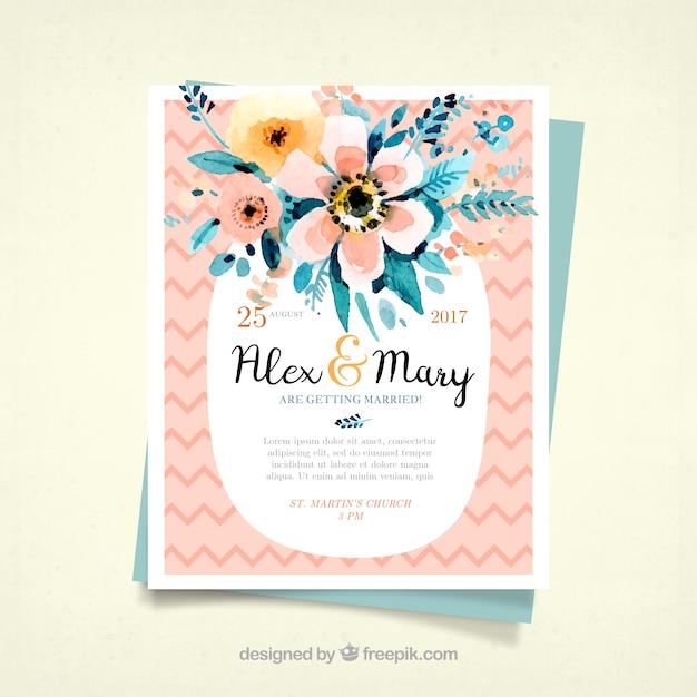 grande invitation de mariage avec des fleurs d u0026 39 aquarelle