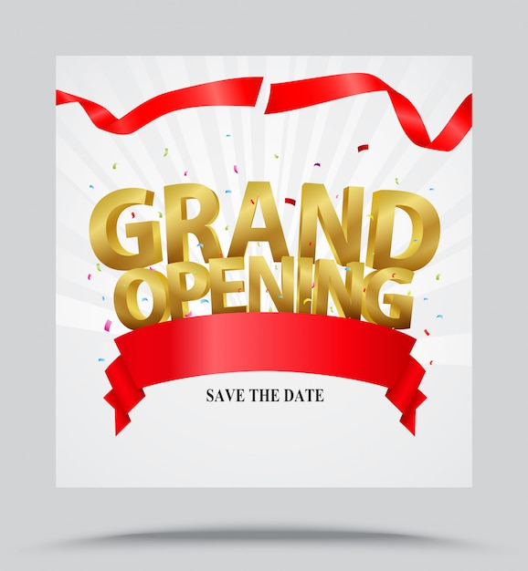 Grande ouverture de fond avec des confettis Vecteur Premium