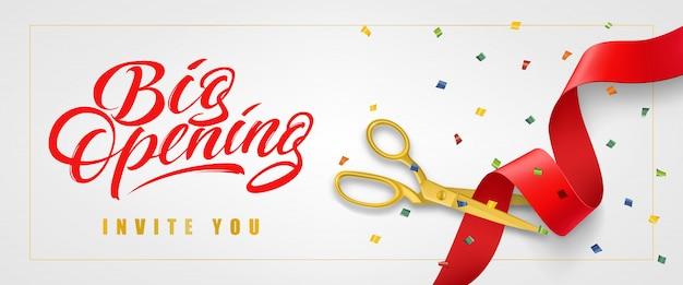 Grande Ouverture, Vous Inviter Bannière Festive Dans Le Cadre Avec Des Confettis Et Des Ciseaux D'or Vecteur gratuit
