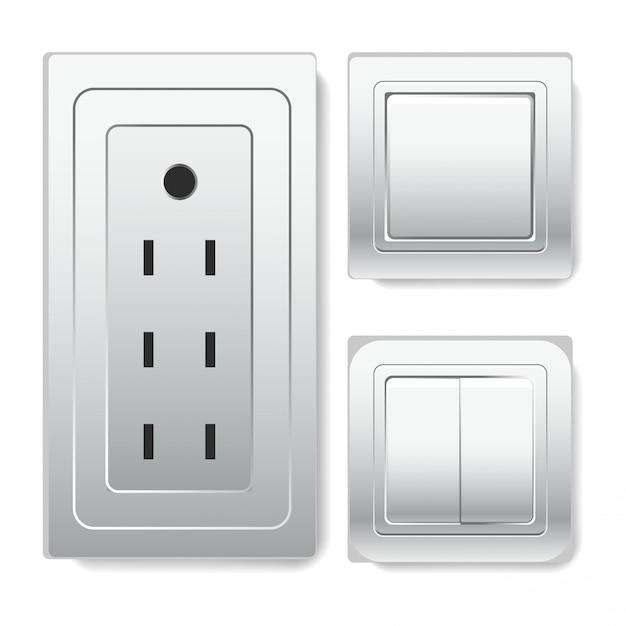 Grande Prise Avec Connecteur Euro Et Interrupteurs Vecteur Premium