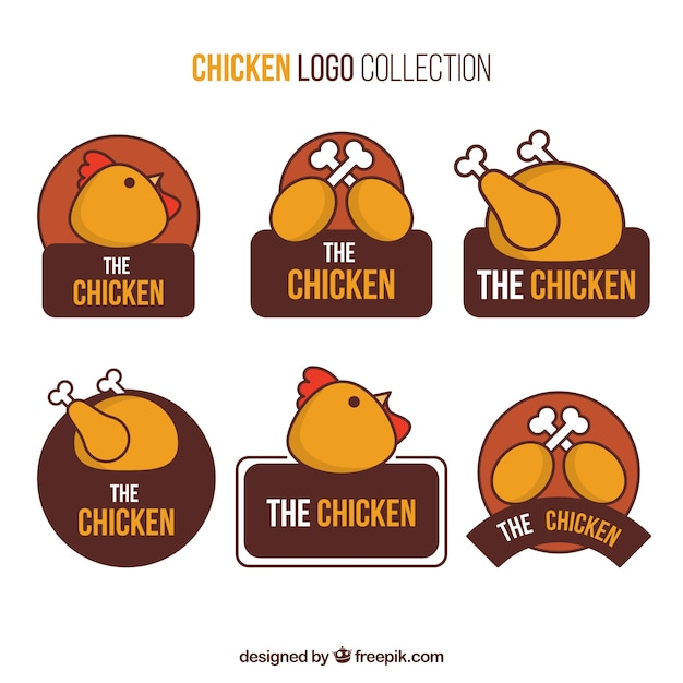 Grande sélection de logos de poulet à la main Vecteur gratuit