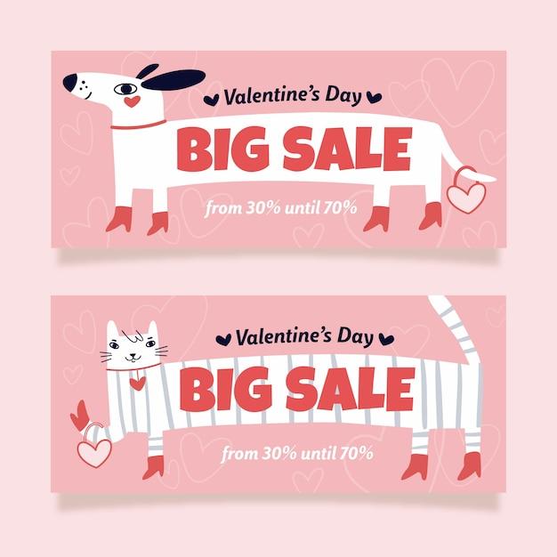 Grande Vente Chien Et Chat Valentine's Day Sale Vecteur gratuit