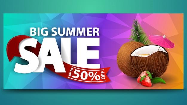Grande vente d'été, bannière web à remise horizontale pour votre site web Vecteur Premium