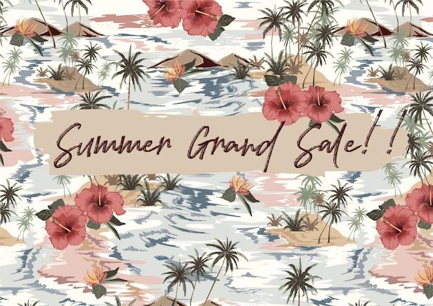 Grande Vente D'été Avec île Tropicale Vintage Avec Feuilles Exotiques, Palmiers, Fleur D'hibiscus Rouge, Vague, Bannière De Montagne Vecteur Premium