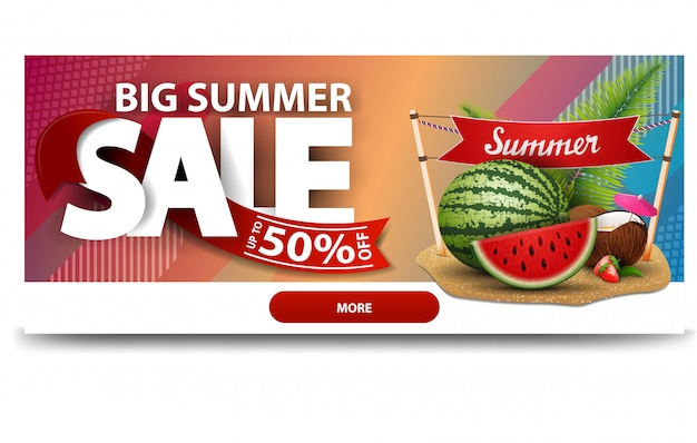 Grande vente d'été, modèle de bannière web de remise horizontale Vecteur Premium