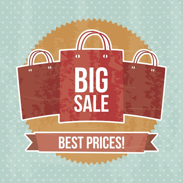 Grande vente sur illustration vectorielle fond pointillé bleu Vecteur Premium