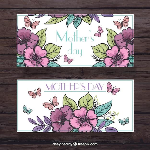 Grandes Bannières Florales Avec Des Papillons Pour La Fête Des Mères Vecteur gratuit