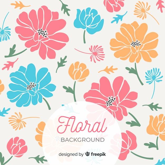 Grandes Fleurs Colorées Sur Fond De Pétales Mignons Vecteur gratuit
