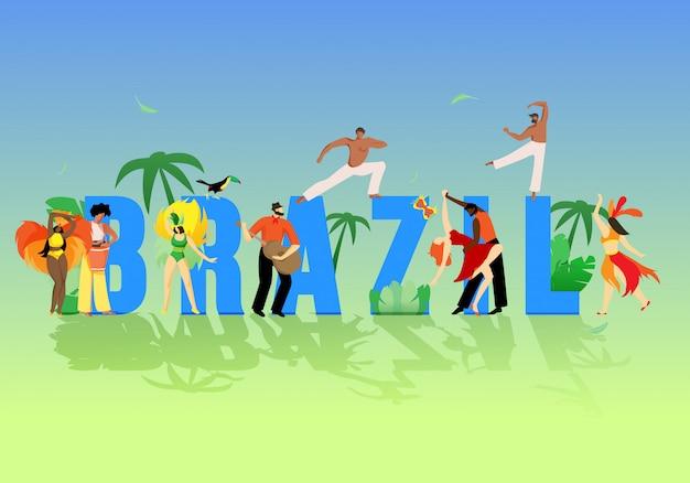 Grandes lettres inscription brésil cartoon flat flat. Vecteur Premium