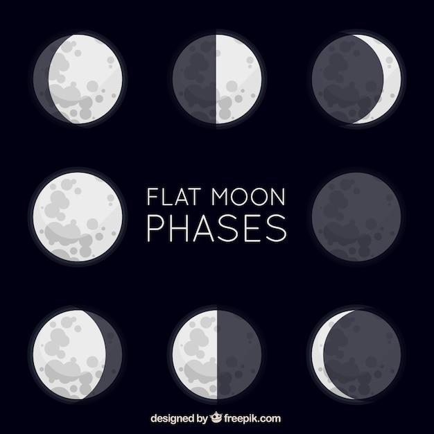 Grandes phases de lune plat Vecteur gratuit
