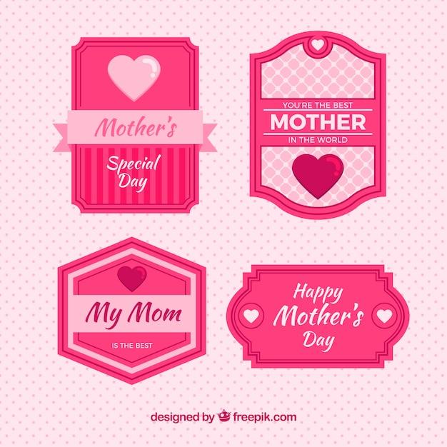 Grands Badges Pour La Fête Des Mères Dans Les Tons Rose Vecteur gratuit
