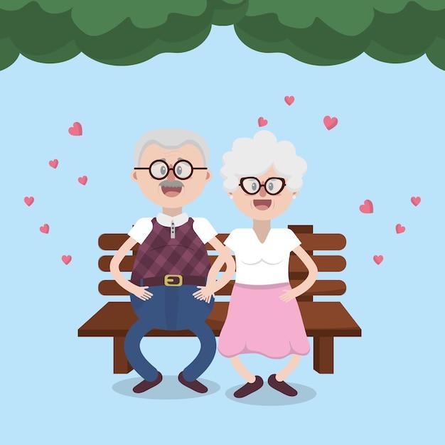 Grands-parents couple charmant Vecteur Premium