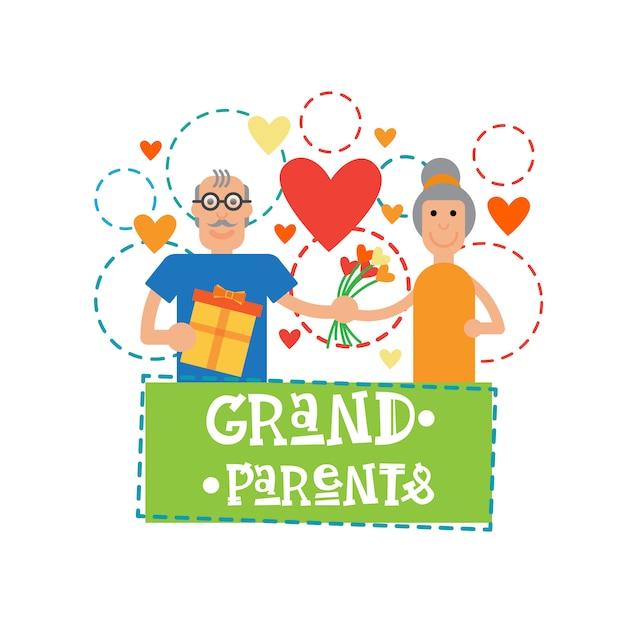 Grands-parents Couple Ensemble Heureuse Bannière De Bannière Carte De Voeux Jour Grand-mère Et Grand-père Vecteur Premium