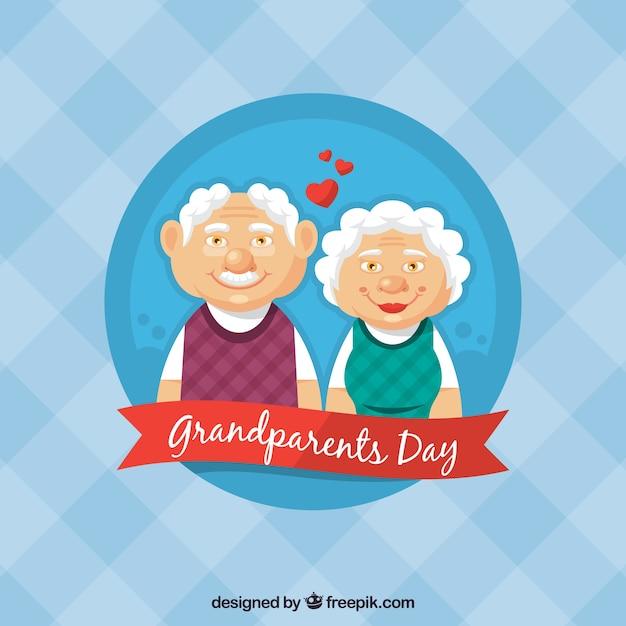 Les grands parents dans le fond amoureux Vecteur gratuit