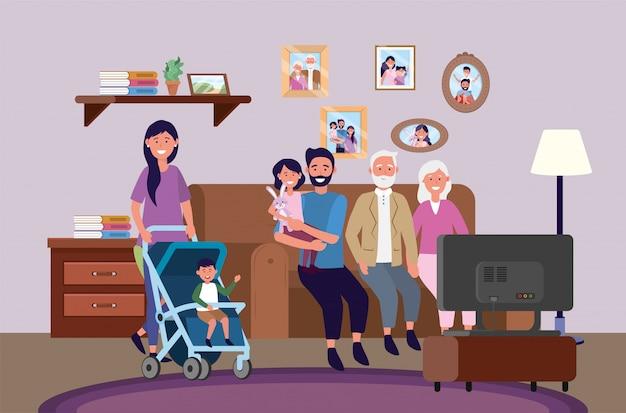 Grands-parents avec femme et homme avec enfants ensemble Vecteur gratuit