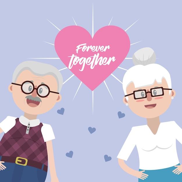 Les grands-parents avec des lunettes et une coiffure Vecteur Premium