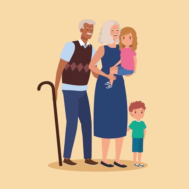 Les grands-parents avec le personnage d'avatar de petits-enfants Vecteur gratuit