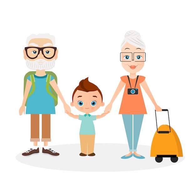 Grands-parents Avec Petit-fils. Grand-père Et Grand-mère Avec Un Sac à Dos. Voyager Avec Le Sac à Dos. Vecteur Premium