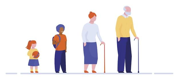 Grands-parents Et Petits-enfants Debout En Ligne Vecteur gratuit