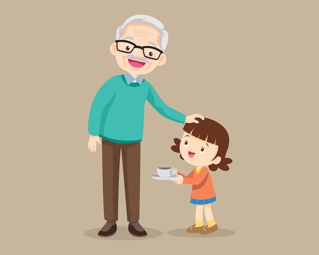 Grands-parents Avec Petits-enfants Mignons Vecteur Premium
