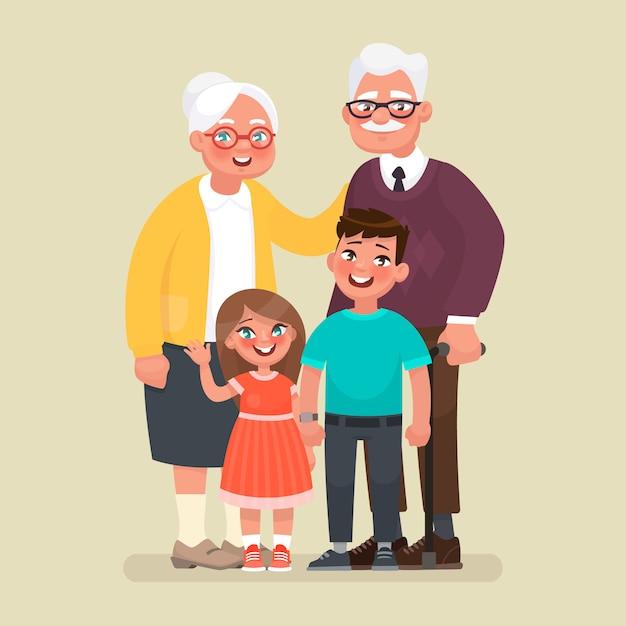 Grands-parents Avec Petits-enfants. Vecteur Premium