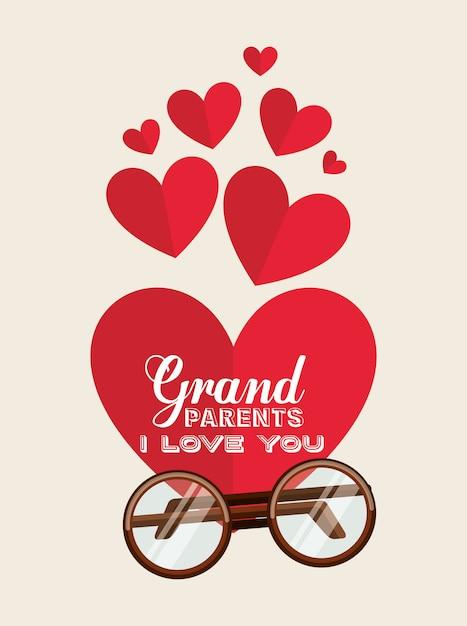 Les grands-parents vous aiment les cœurs Vecteur gratuit